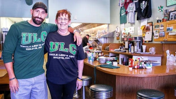 Uncle Loui's Cafe owner Debra Strop and her son Matt Berthiaume