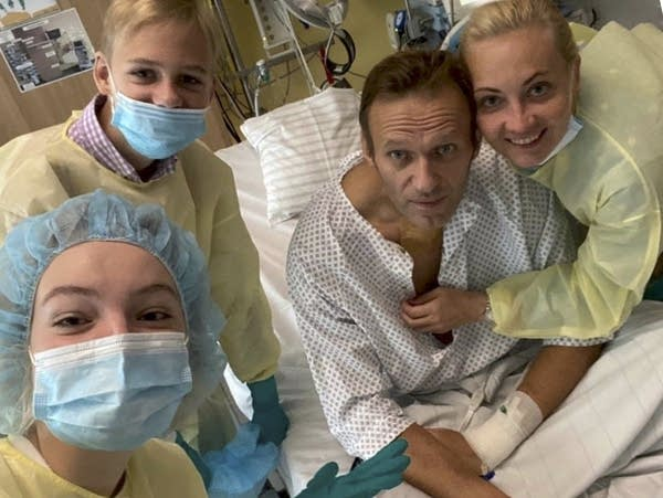 Alexei Navalny and his family members in a hospital.