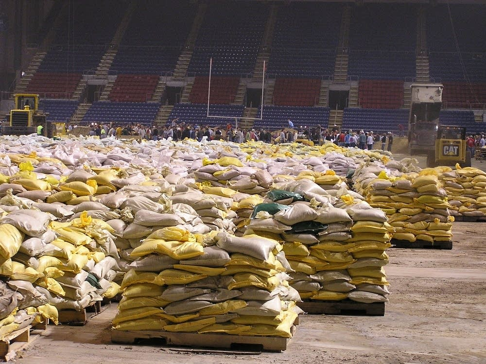Sandbags await deployment at the Fargodome