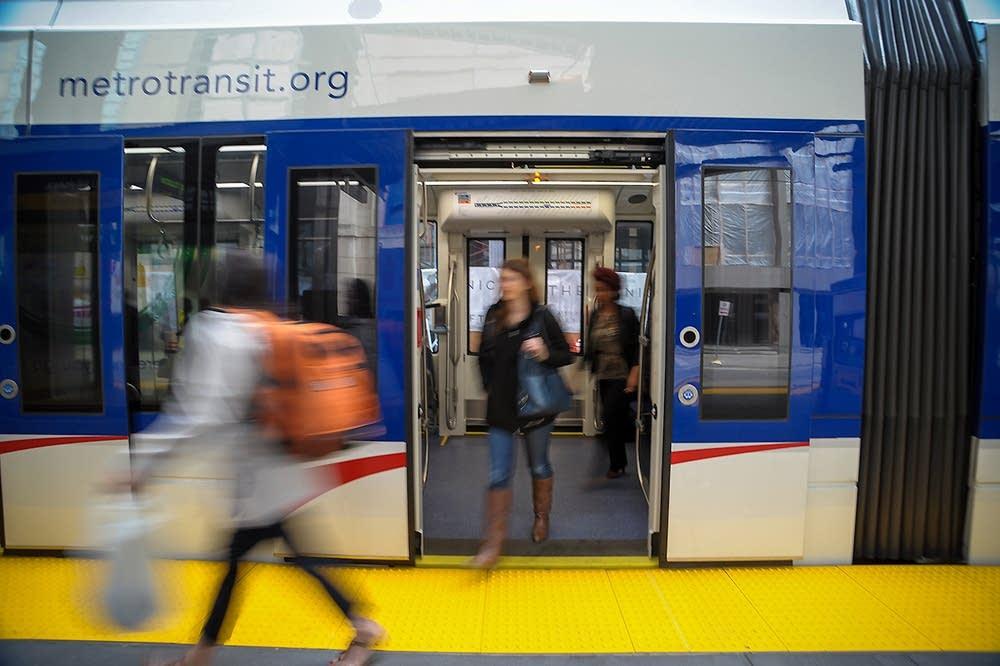 LRT in downtown Minneapolis
