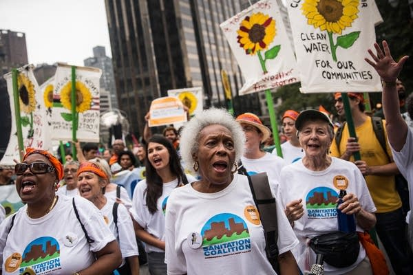 At the People's Climate March in 2014 in New York