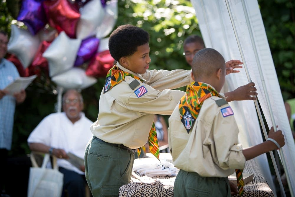 Boy Scouts helping out