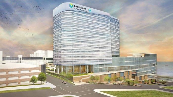 An architect's rendering shows Essentia Health's hospital bed tower.