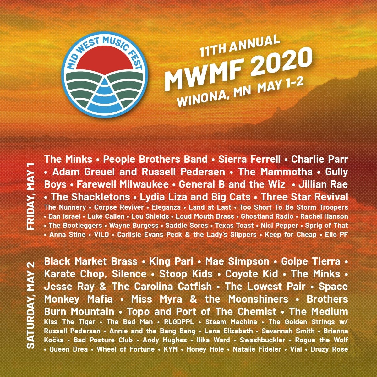 Mid West Music Fest 2020 Line up