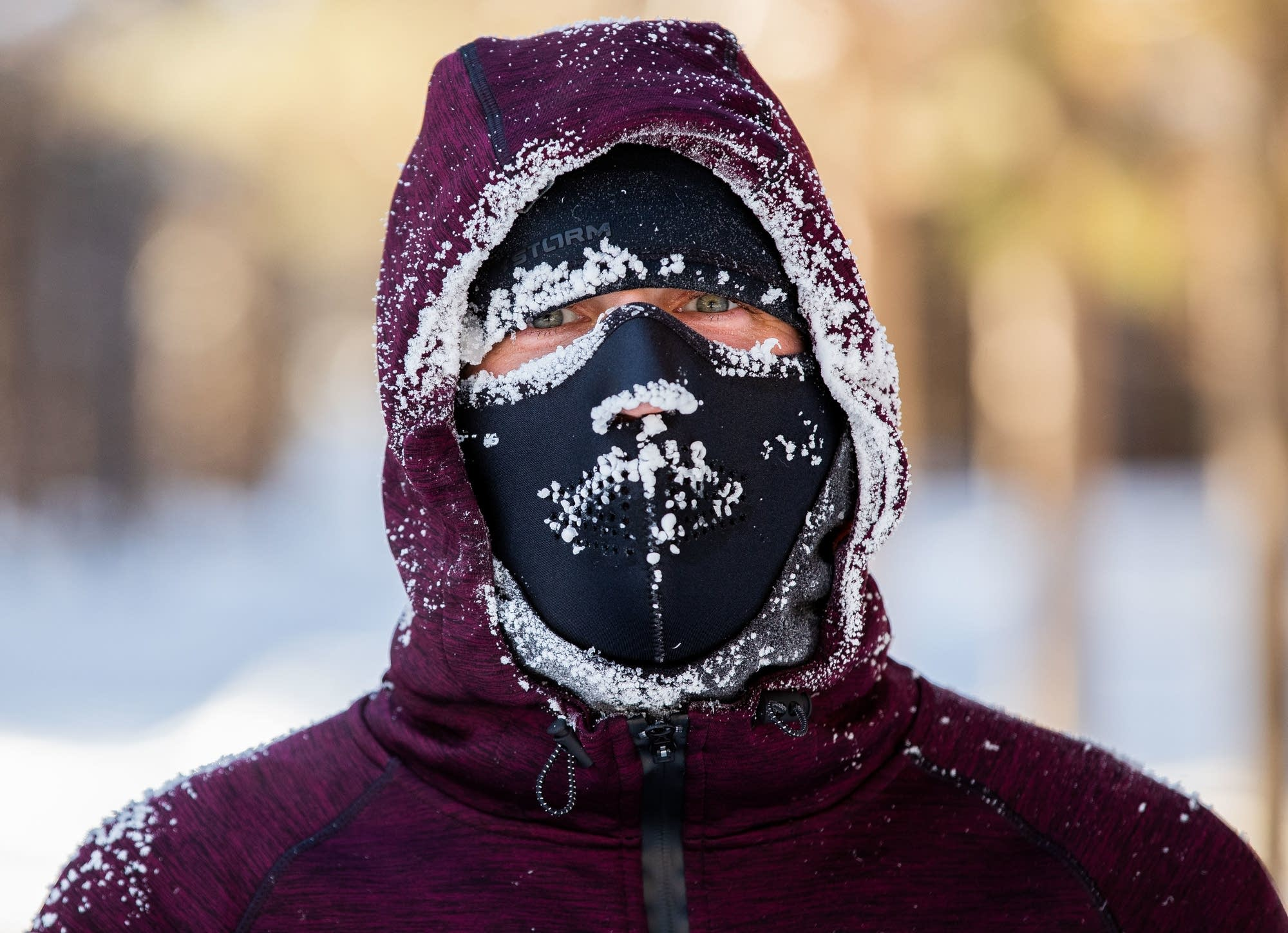 Icicles form on the face of Kyle Johnson after he finished a run.