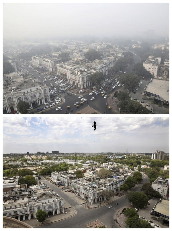 Combination photo showing New Delhi's skyline.