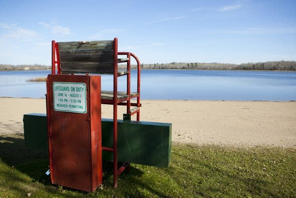 Due to budget shortfalls, the beach at Carey Lake in Hibbing, Minn. will not see lifeguards manning these chairs.