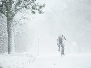 The winter's first snow at Lake Bemidji