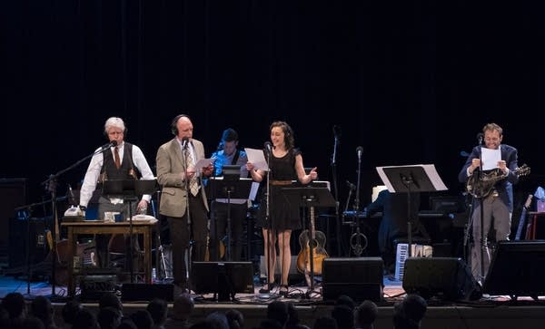 Fred Newman, Tim Russell, Serena Brook, and Chris Thile head to the races.