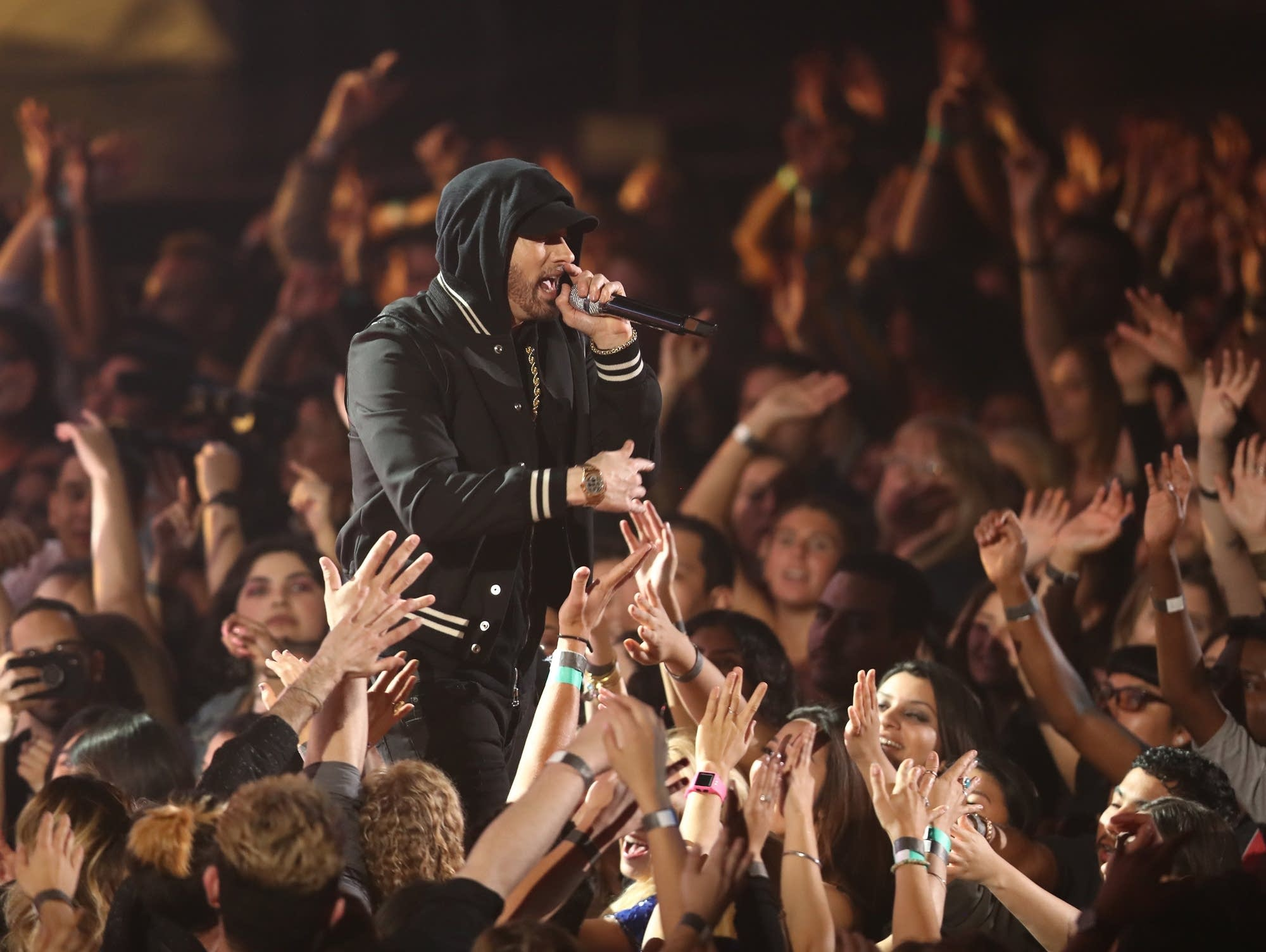 Eminem performs at the iHeartRadio Music Awards in March 2018.