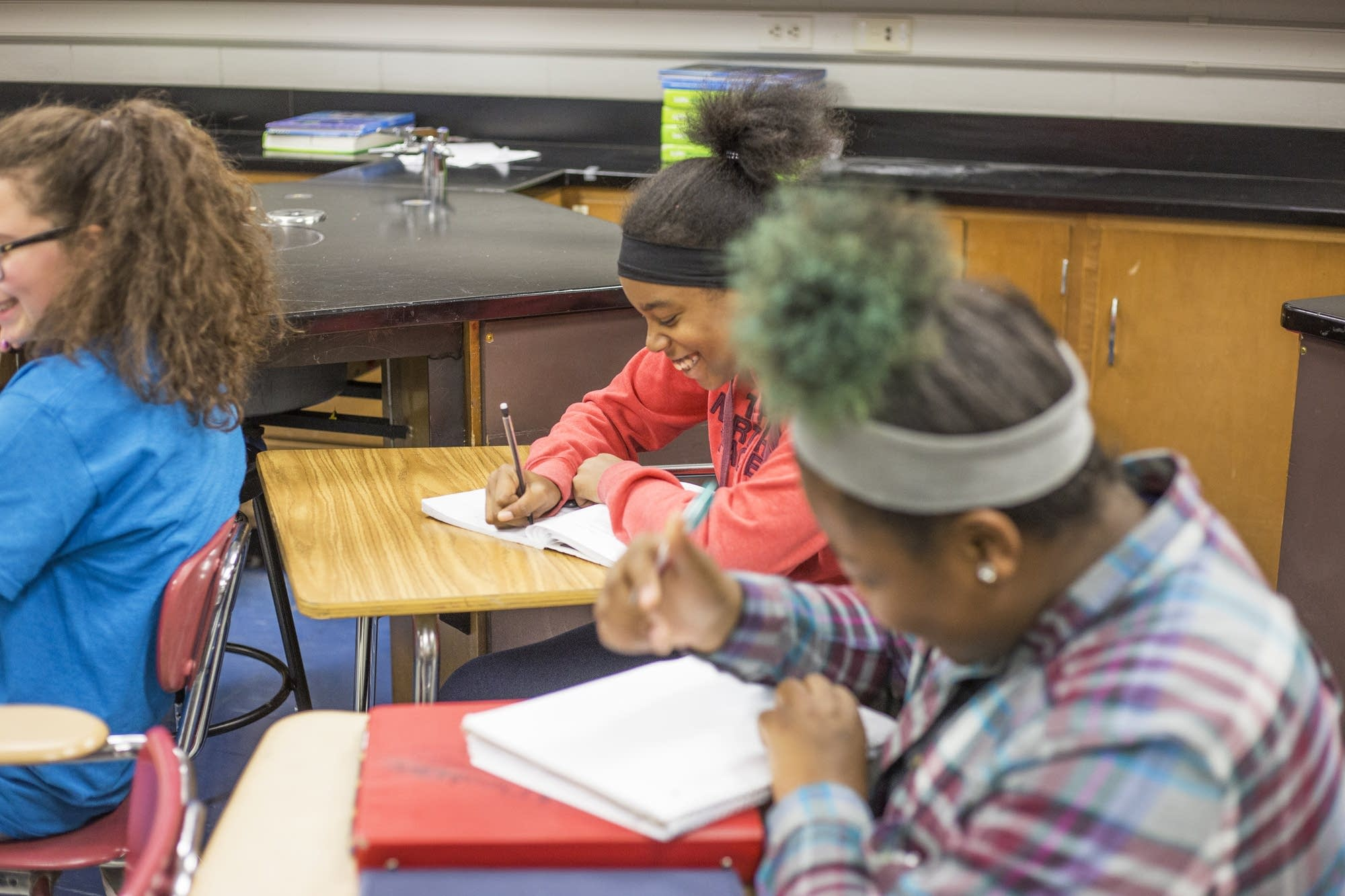 Kahlaila Shambley works on an assignment in her life science class.