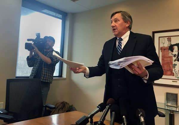 Sen. Dan Schoen's attorney, Paul Rogosheske, addresses allegations.