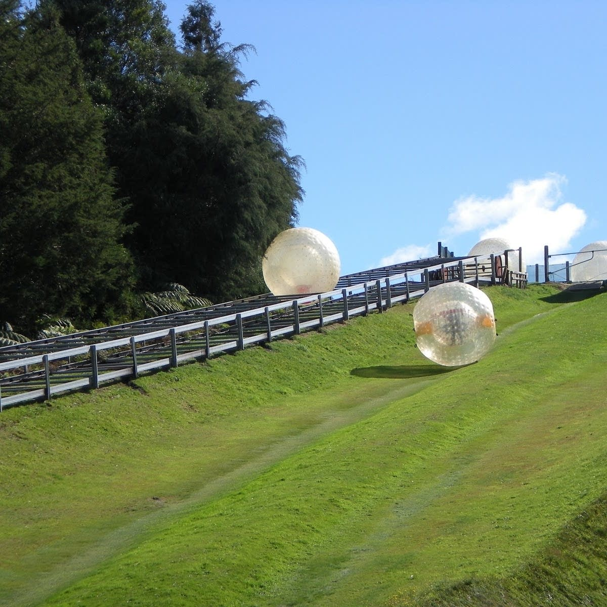 Balls rolling down hill