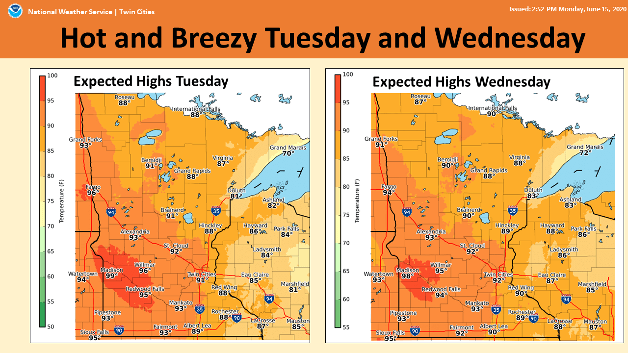 High temperature forecast Tuesday and Wednesday