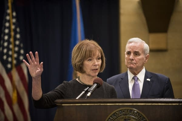 Lt. Gov. Tina Smith fields questions after being named to replace Franken.