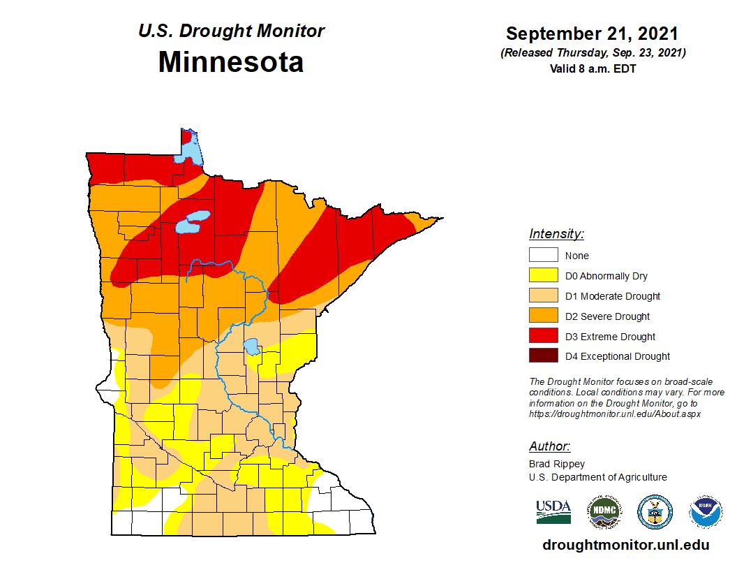 U.S. Drought Monitor for Minnesota