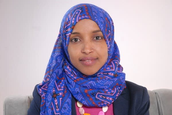 Ilhan Omar sits for a portrait at KARE 11 studio.