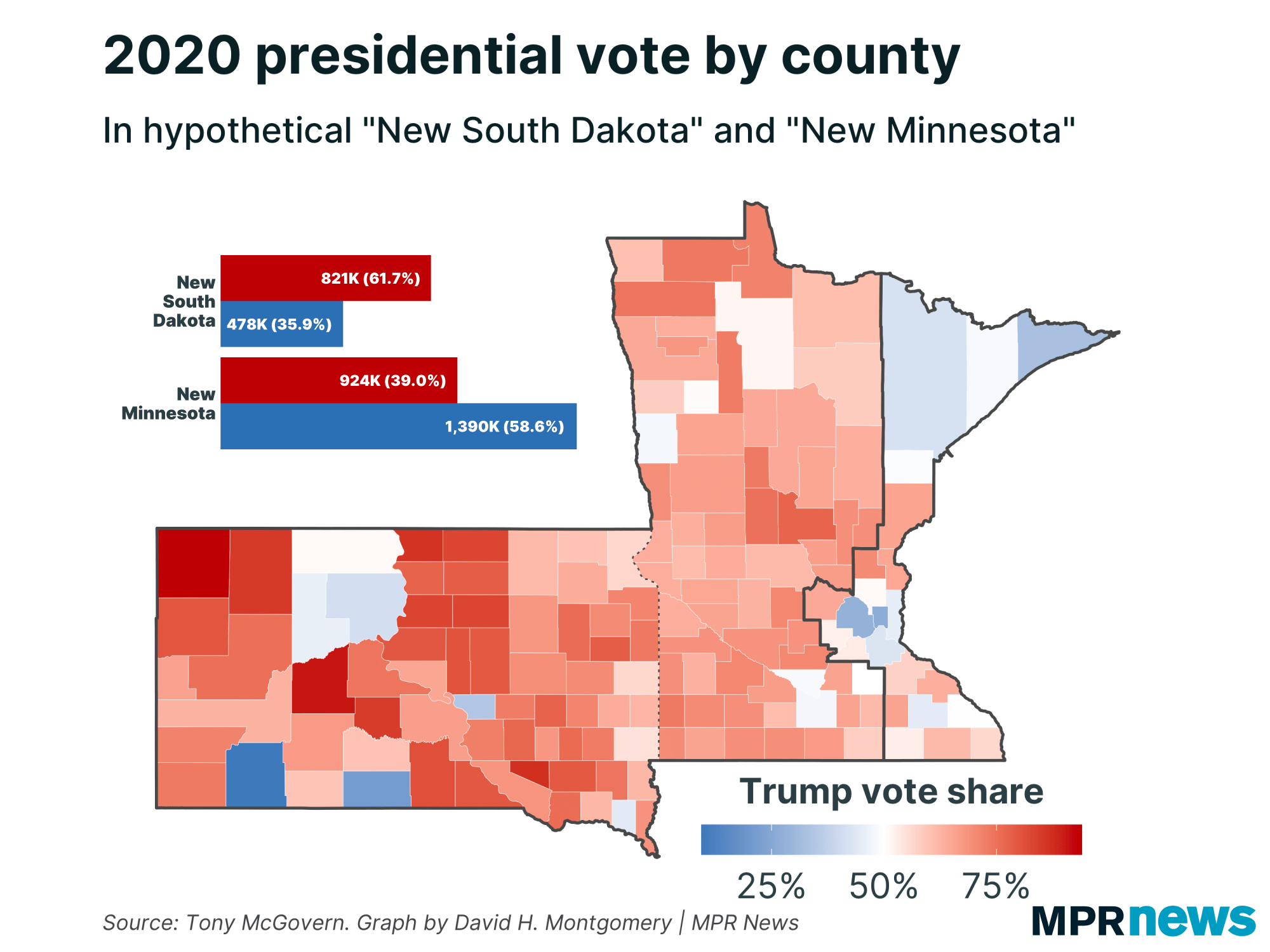 Map of 2020 election results in an alternate border scenario