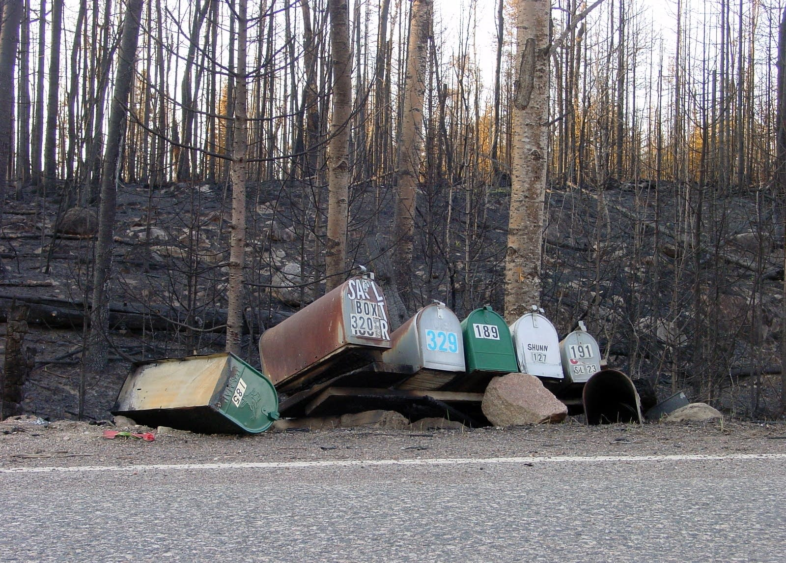 The metal of the winter mail boxes at Sag and Gunflint Trails survived.