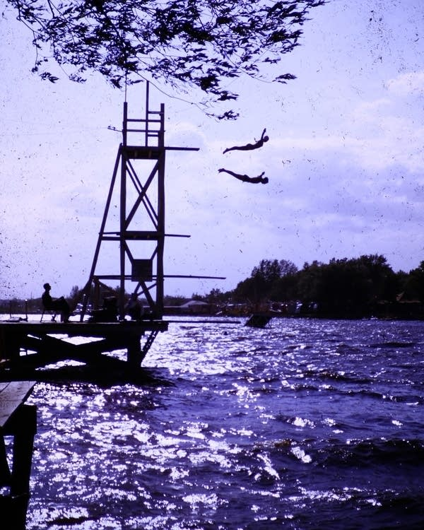 Divers at the Water Carnival in Hutchinson, Minn., circa 1950