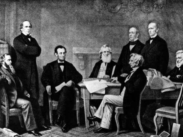 Abraham Lincoln at the signing of the Emancipation Proclamation.