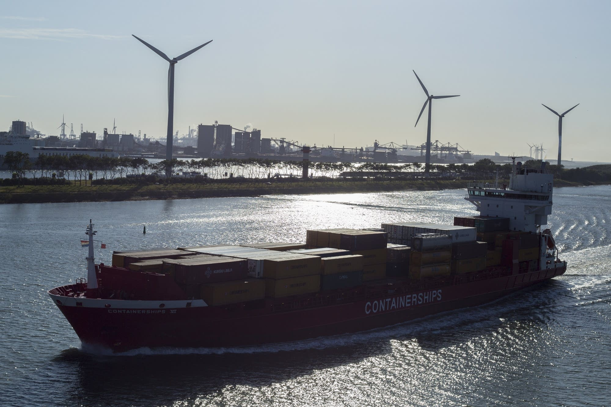 Leaving Rotterdam - container ship