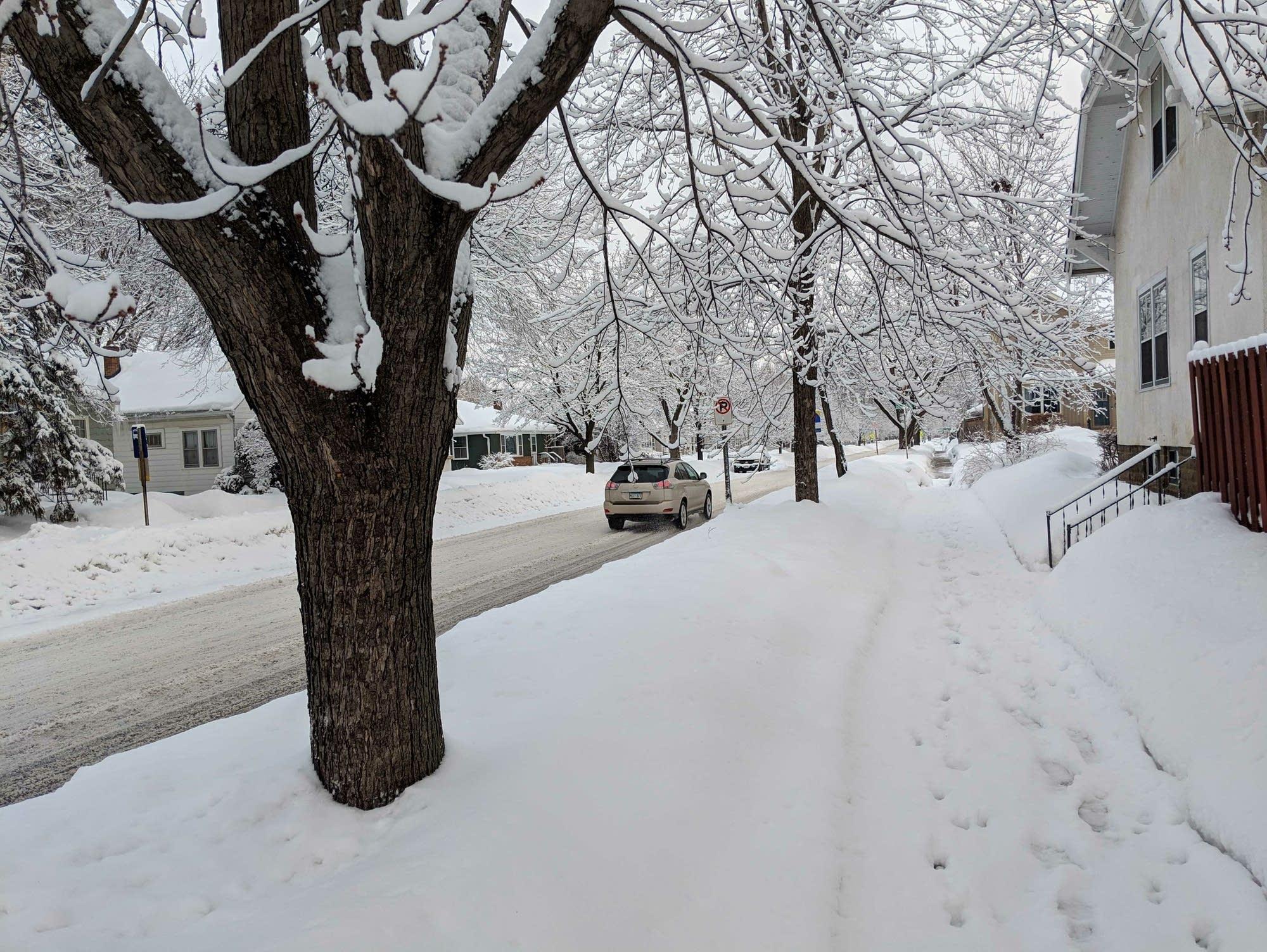 A snowy scene along Cretin Avenue in St. Paul