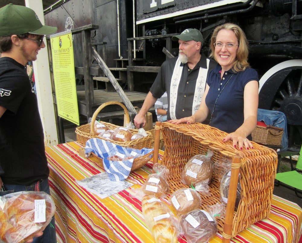 Selling bread at the Tower Farmers Market