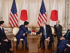 Trump speaks during a bilateral meeting with Japan's Prime Minister