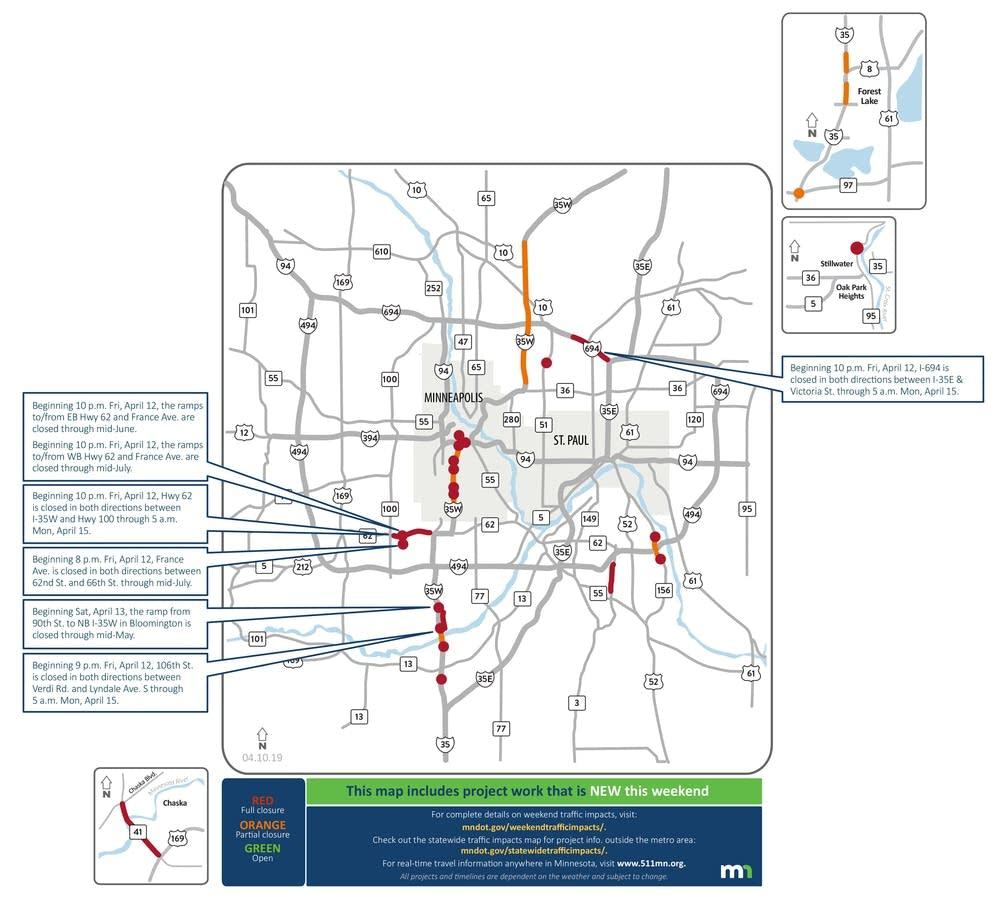 Highway 62, I-694 closures top Twin Cities weekend road woes