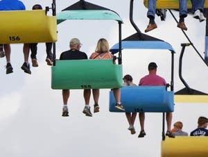 Fair-goers ride the Sky Glider.