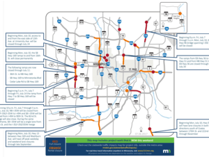 14 full closures and many more partial closures this weekend