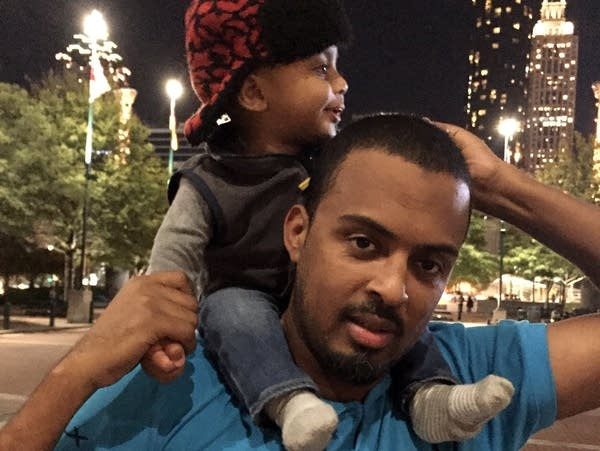 Rahim Mohamed with his son in Atlanta, November 2015.