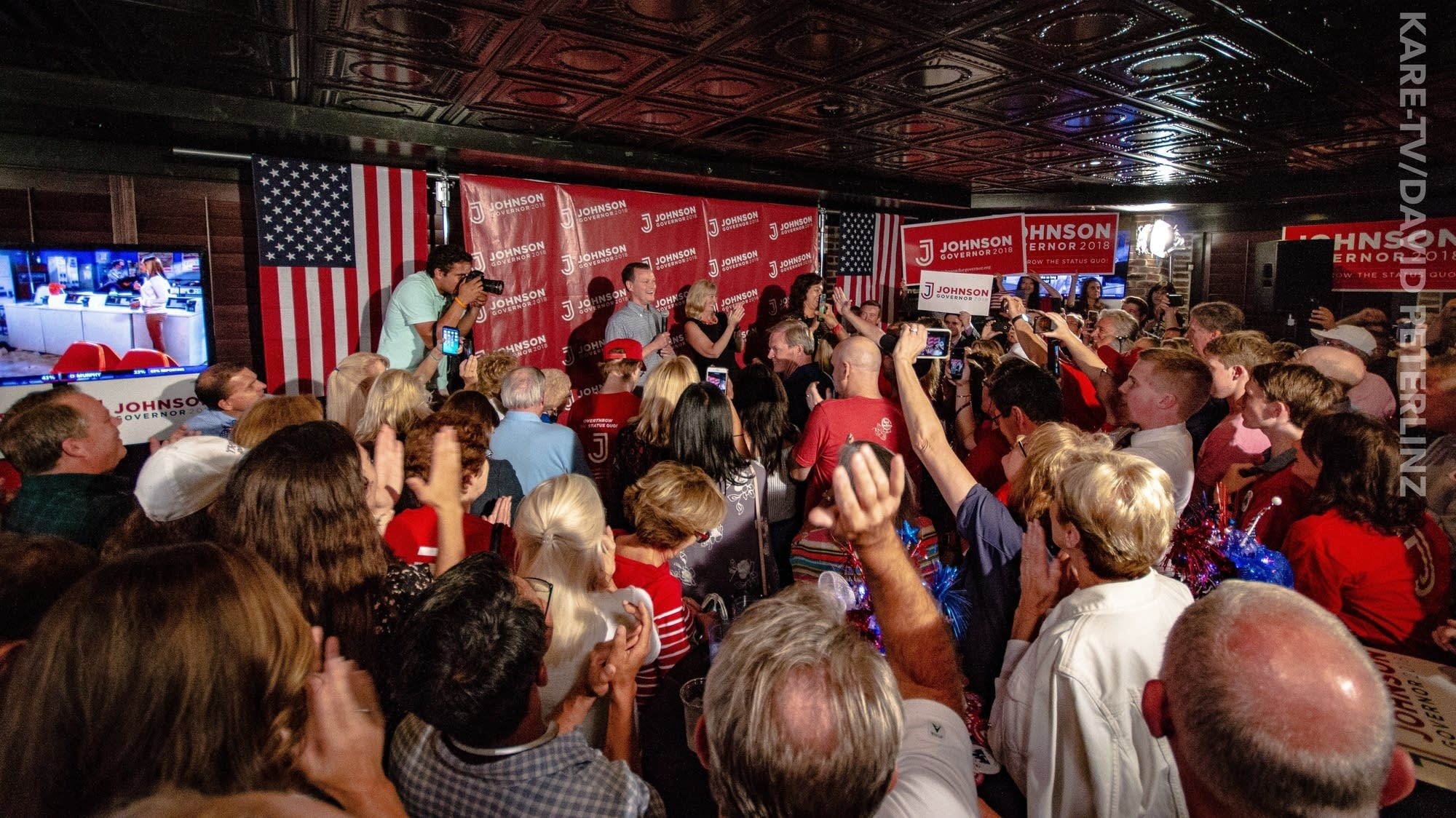 Jeff Johnson celebrates his primary victory at Lucky 13 in Plymouth.