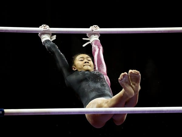 St. Paul's Sunisa Lee competes on the uneven bars