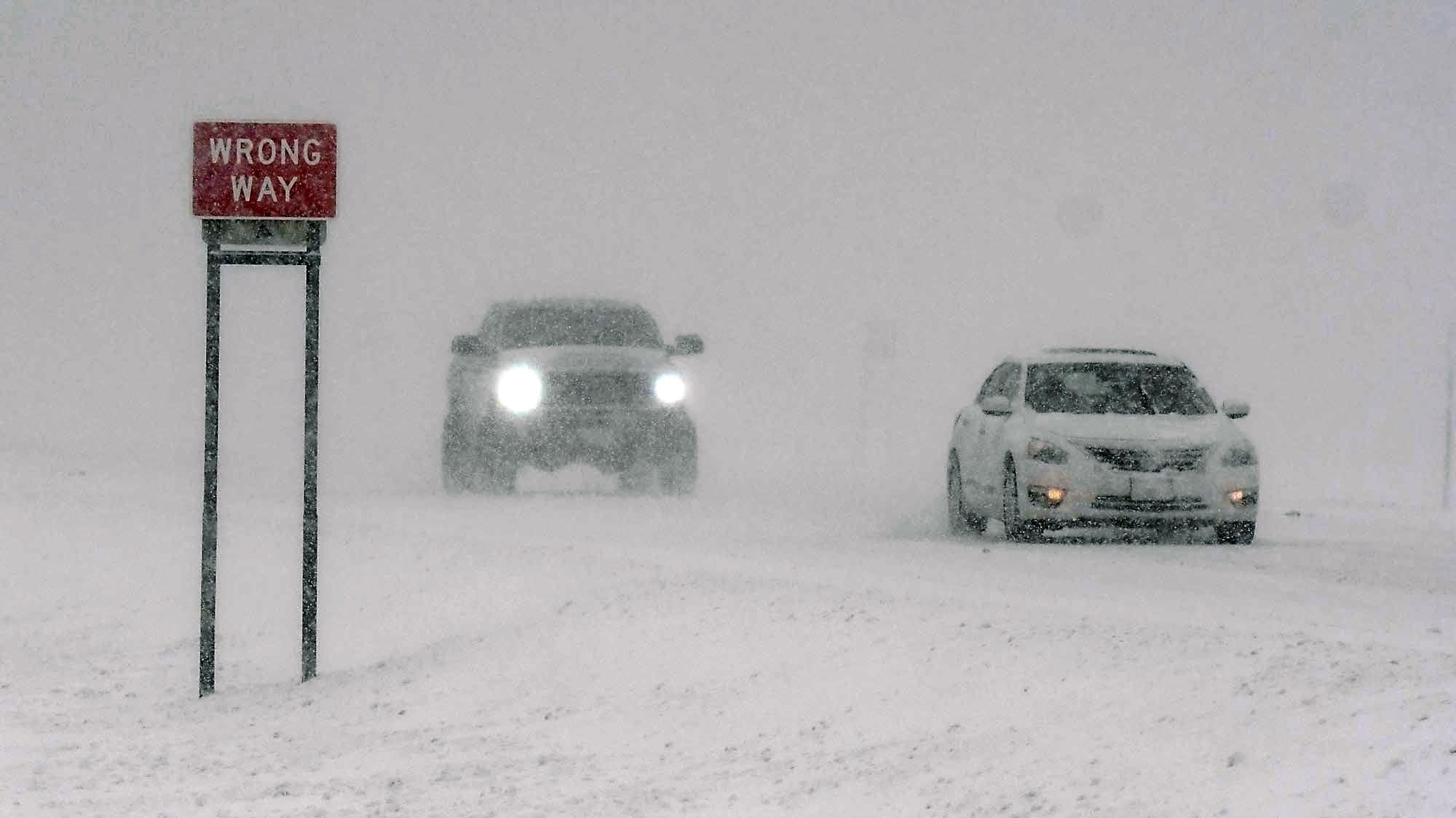 Drivers emerge from near white out conditions on Hwy. 169 near Mankato.