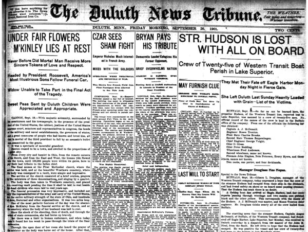 The front page of the Duluth News Tribune on Sept 20 1901