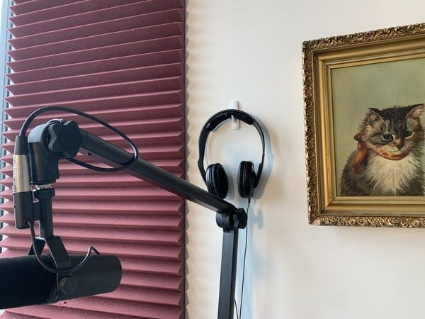 Pair of black headphones hanging on wall next to mic and a cat painting