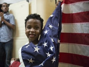 Boy waves flag