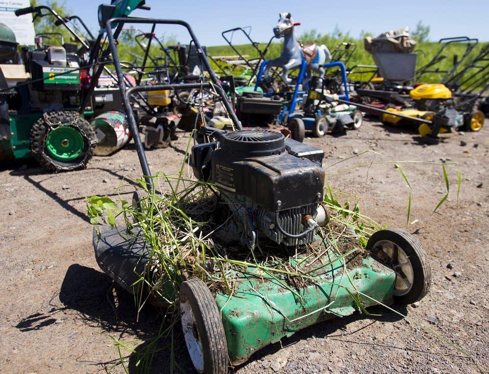 Damaged lawn equipment