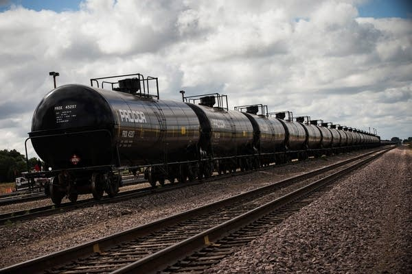 Oil containers sat at a train depot in North Dakot