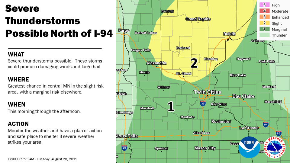 Weather map from Twin Cities National Weather Service