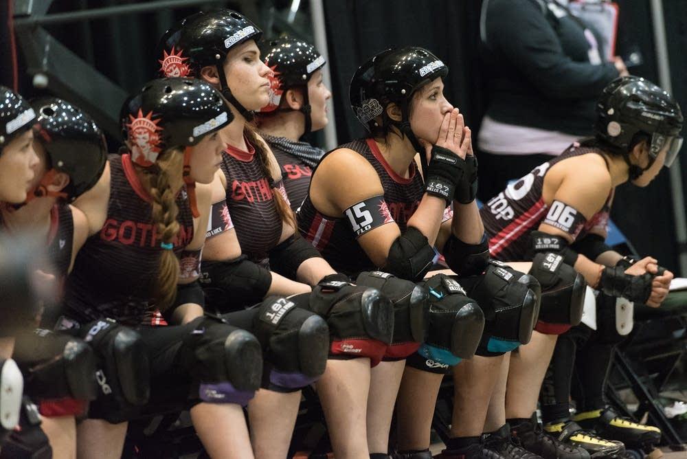 The Gotham Girls Roller Derby bench watches.