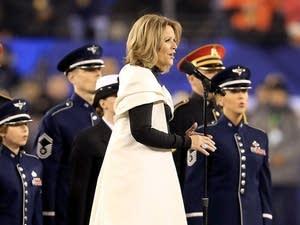 Renee Fleming singing the national anthem during Super Bowl XLVIII.