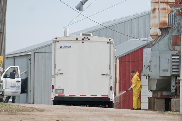 Spraying down a trailer