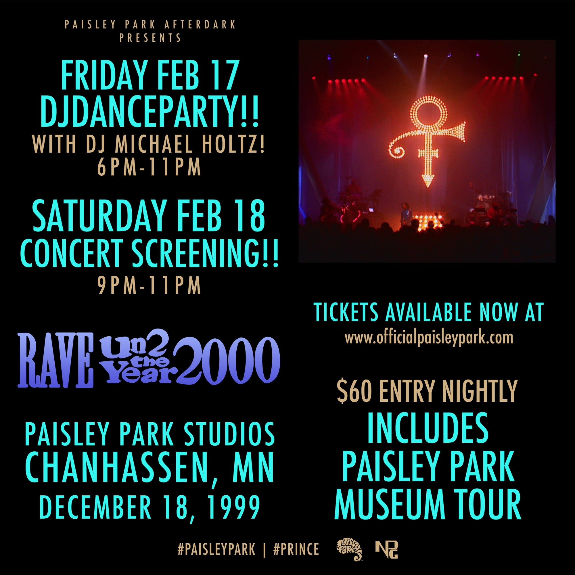 A flyer for weekend events at Paisley Park