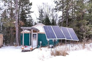 Solar panels outside a yurt near Bemidji.
