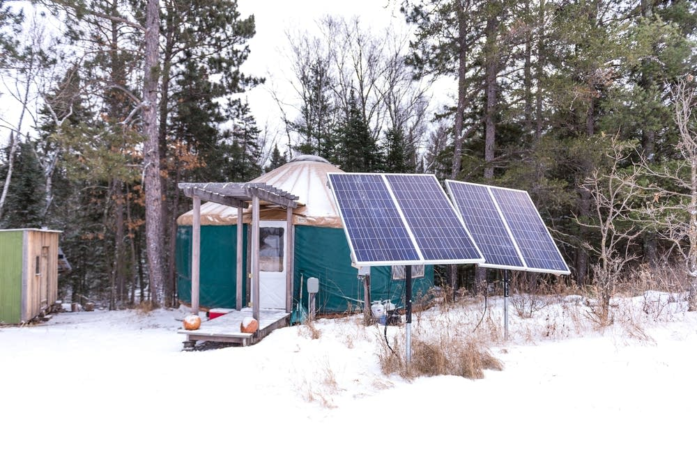 Solar panels outside a yurt near Bemidji.