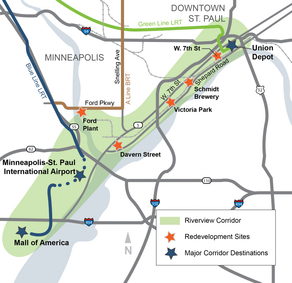 A schematic of the Riverview Corridor.