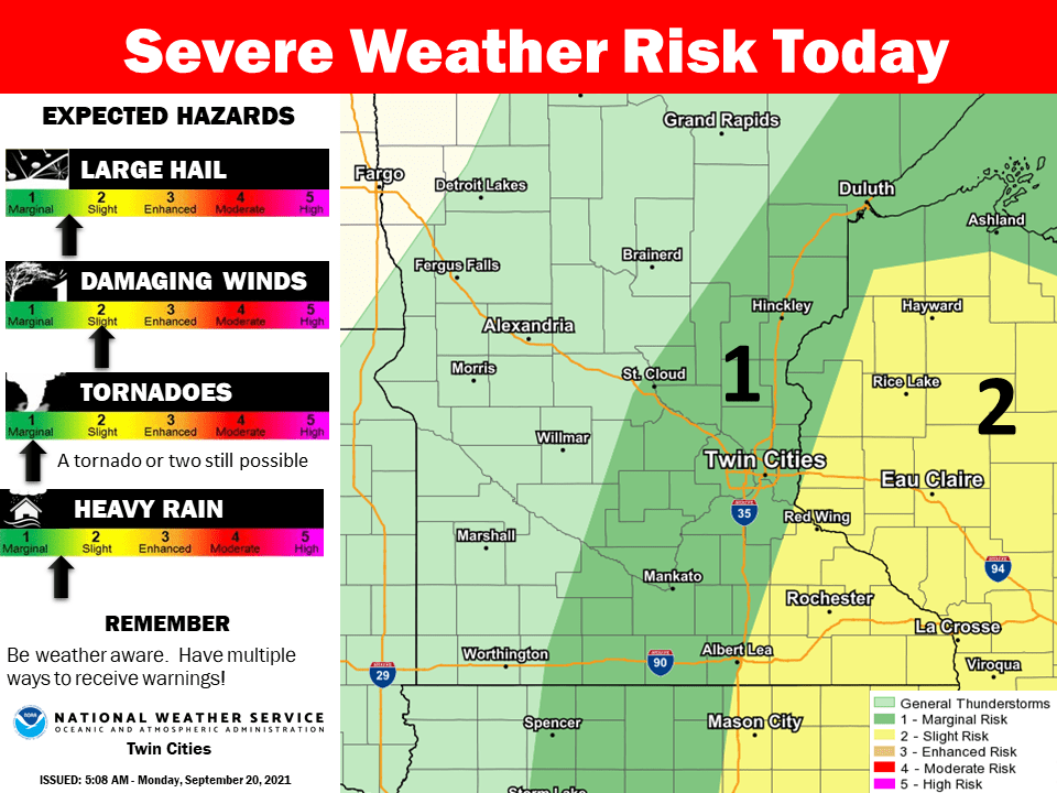 Severe weather risk areas Monday pm
